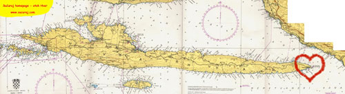 Nautical-map of the island Hvar